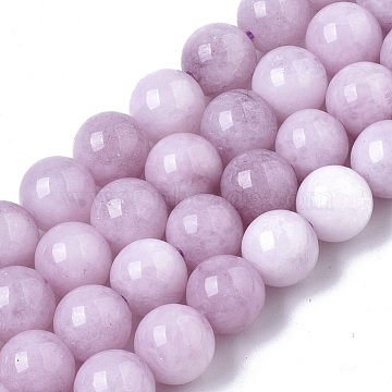 Natural Chalcedony Beads Strands, Dyed & Heated, Imitation Kunzite Color, Round, Plum, 8.5x8mm, Hole: 1mm, about 49pcs/strand, 15.47 inches(X-G-T129-07)