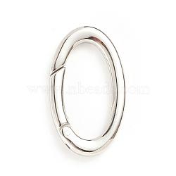 304 Stainless Steel Spring Gate Rings, Oval Rings, Stainless Steel Color, 9 Gauge, 28x16x3mm; Inner Diameter: 21x10mm(STAS-I133-07A)