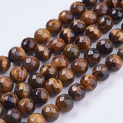 Natural Tiger Eye Round Bead Strands, Faceted, 8mm, Hole: 1mm; about 48pcs/strand, 14.9inches
