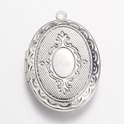 Подвески латуни медальон, овальные, платина, 33.5x23.5x5 мм, отверстие : 1.5 мм(X-KK-N0116-054P)