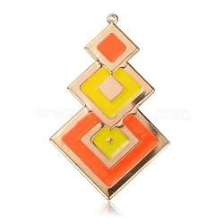 Pendentifs d'émail en fer plaqué or clair, trois grands pendentifs losange, orange foncé, 67x41x1mm, Trou: 1mm(IFIN-J063-04KCG)