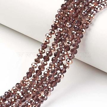 plaquent verre transparent perles brins, moitié cuivre plaqué, facettes, rondelle, SaddleBrown, 4x3 mm, trou: 0.4 mm; environ 145 perle / brin, 18.9 (48 cm)(EGLA-A034-T4mm-N09)