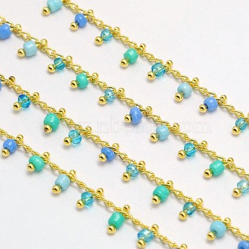 Brass Glass Handmade Beaded Chains, Soldered, Nickel Free & Cadmium Free & Lead Free, Golden, Royal Blue, 5.5x2mm(X-CHC-I006-03G-NF)
