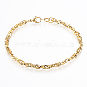 304 Stainless Steel Rope Chain Anklets, with Lobster Clasps, Golden, 8-1/4inchesx1/8inchesx1/8inches(210x4x0.8mm)(AJEW-K016-05G)