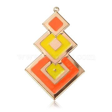 Golden DarkOrange Rhombus Iron + Enamel Big Pendants
