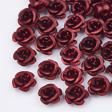 Aluminum Beads, Frosted, Long-Lasting Plated, 5-Petal Flower, Dark Red, 6~6.5x4mm, Hole: 0.8mm(X-FALUM-T001-03A-01)
