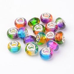 Perles européennes en alliage, perles de rondelle avec grand trou , avec des noyaux de cuivre, argenterie, couleur mixte, 14x9mm, Trou: 5mm(RPDL-H001-02)