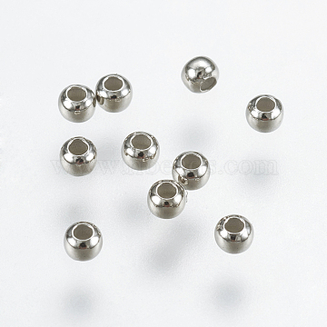 925 Sterling Silver Beads, Round, Platinum, 2mm, Hole: 0.8mm(X-STER-K037-042A)