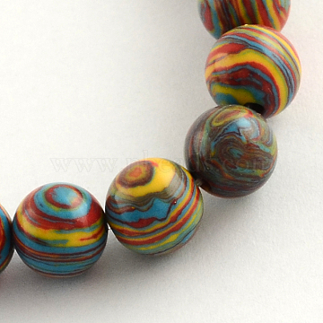 Round Dyed Synthetic Gemstone Beads Strands, Colorful, 8mm, Hole: 1mm, about 50pcs/strand, 14.9 inches(X-G-R251-02A)