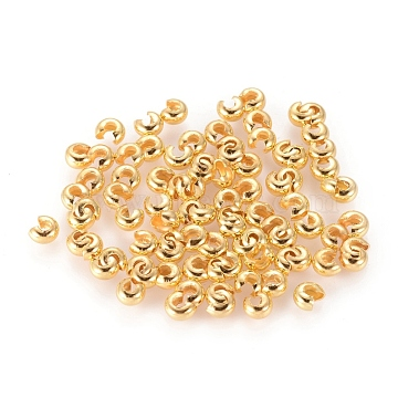 Iron Crimp Beads Covers, Cadmium Free & Lead Free, Golden Color, Size: About 3mm In Diameter, Hole: 1.2~1.5mm(X-IFIN-H028-G)