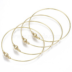 Brass Bangle, with Round Magnetic  Clasps, Nickel Free, Real 18K Gold Plated, Inner Diameter: 2-3/8 inches(6cm)(X-KK-N233-054-NF)