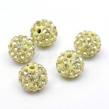 Perles en strass pavé d'argile polymère, perles de boule de disco, jonquille, 12mm, Trou: 1.5mm(X-RB-Q197-12mm-24)