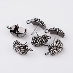 Accessoires de clou d'oreille avec strass rectangle en argile polymère, avec boucle, avec broches en acier, gunmetal, 17x10x5mm; broches: 0.7 mm; trou: 2mm(X-RB-K030-20)