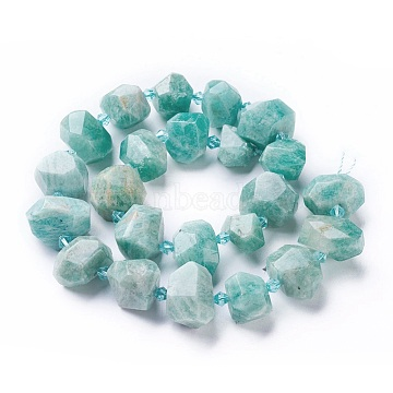 Natural Amazonite Beads Strands, Faceted, Nuggets, 12~20x12~16mm, Hole: 1.8~2mm; about 22~23pcs/strand, 15inches~15.74inches(38~40cm)(G-P434-11)