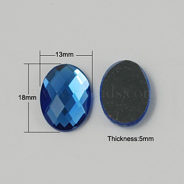 Electroplate Glass Cabochons, Flat Back & Back Plated, Faceted, Oval, DodgerBlue, 18x13x5mm(X-GGLA-R007-04)