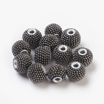 Handmade Indonesia Beads, with Aluminum Core, Rondelle, Gray, Size: about 15mm in diameter, 13mm thick, hole: 3mm(IPDL-R313-1)