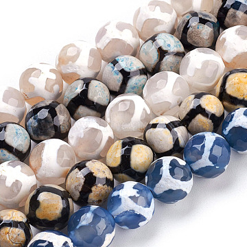 10mm Mixed Color Round Tibetan Agate Beads