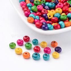 Lead Free Rondelle Natural Wood Beads, Dyed, about 5.5mm wide, 4mm high, hole: 1.5mm