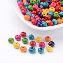 200pièces perles en rondelles mixtes en bois sans plomb, teint, environ 5.5 mm de large, hauteur de 4 mm , Trou: 1.5mm(X-TB093Y)