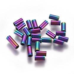 Perles de tube en 304 acier inoxydable, multicolore, 6x3mm, Trou: 2mm(STAS-F224-01M-B)