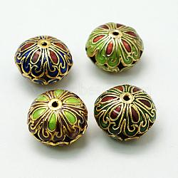perles en cloisonné main, plat rond, couleur mélangée, 18.5x13.5 mm, trou: 1.5 mm(X-CLB-C002-M)