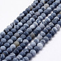 Frosted Natural Agate Beads Strands, Round, Dyed & Heated, DarkBlue, 6mm, Hole: 0.8mm; about 65pcs/strand, 15.1""