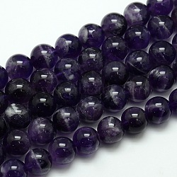 Natural Amethyst Round Bead Strands, Grade AB, 12mm, Hole: 1mm; about 33pcs/strand, 15.74inches