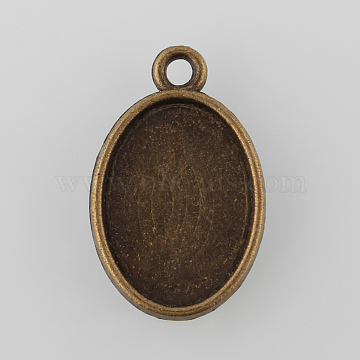 Oval Two-Sided Alloy Pendant Cabochon Settings, Cadmium Free & Nickel Free & Lead Free, Antique Bronze, Tray: 18x13mm; 24.5x15.5x3mm, Hole: 2mm(X-PALLOY-N0088-15AB-NF)