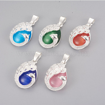 Cat Eye Pendants, with Brass Findings, Teardrop with Peacock, Silver Color Plated, Mixed Color, 26x16x8mm, Hole: 4x6mm(KK-F793-43)