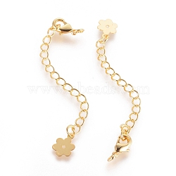 Long-Lasting Plated Brass Chain Extender, with Lobster Claw Clasps and Flower Tips, Real 18K Gold Plated, 71x3mm, Hole: 2.5mm(X-KK-K210-18G)