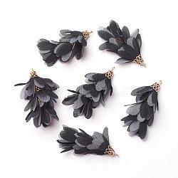Pendentifs grands en fer, avec mousseline, fleur, or, noir, 50~52x22~28mm, Trou: 2mm(IFIN-G081-A12)