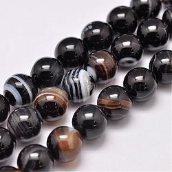 Natural Striped Agate/Banded Agate Bead Strands, Dyed & Heated, Round, Grade A, Black, 10mm, Hole: 1mm; about 39pcs/strand, 15.2inches(387mm)