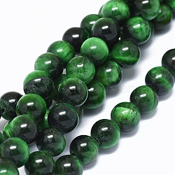 Natural Tiger Eye Beads Strands, Dyed & Heated, Round, Green, 8mm, Hole: 2mm; about 49pcs/strand, 14.7inches(37.5cm)
