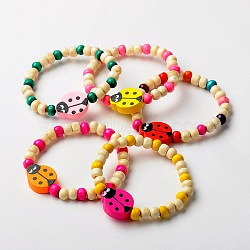 Stretchy Wood Bracelets for Kids, Children's Day Gifts, with Random Color Ladybug Beads, Mixed Color, 45mm(BJEW-JB01265)