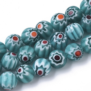 Handmade Millefiori Lampwork Beads Strands, Round, Dark Cyan, 8mm, Hole: 1.2mm; about 48pcs/strand, 14.17 inches(36cm)(X-LAMP-R143-01C)