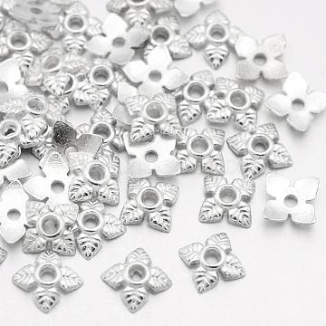 Tibetan Style Bead Caps, Cadmium Free & Lead Free, Flower, Silver Color Plated, 6x6x2mm, Hole: 1mm(X-TIBEB-Q018-S-LF)