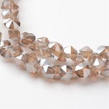 4mm Tan Diamond Glass Beads