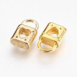 пластмассовые подвески ccb, замок с сердцем, золотой, 15.5x9.5x4.5 mm, отверстия: 4.5x5 mm(CCB-P007-012)