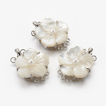Natural White Shell Box Clasps, with Brass Findings, Flower, Platinum, 32x25x6mm, Hole: 1.6mm(KK-F775-02P)