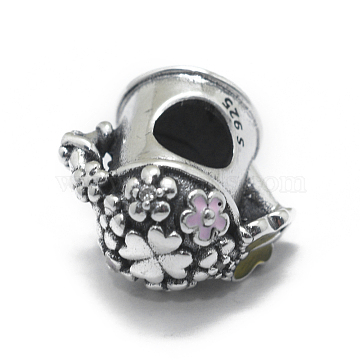 Thai 925 Sterling Silver European Beads, with Cubic Zirconia and Enamel, Large Hole Beads, Flower Basket, Colorful, Antique Silver, 17mm, Hole: 4.5mm(STER-E064-22AS)