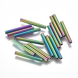 Perles de tube en 304 acier inoxydable, multicolore, 25x3mm, Trou: 2mm(STAS-F224-01M-G)