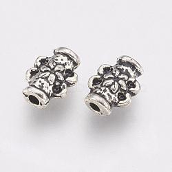 paramètres alliage perle de strass de style tibétain, colonne, sans plomb et sans nickel, argent antique, s'adapter pour 0.5 mm strass; 8x6x3 mm, trou: 1 mm(X-TIBE-T011-164AS-FF)