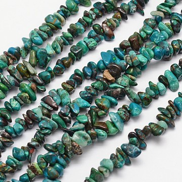 Natural Chrysocolla Bead Strands, Chips, 4~12x4~12mm, Hole: 1mm; about 15.74inches(X-G-L459-40)