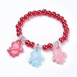 """Bracelets extensibles pour enfants, avec de l'acrylique perle d'imitation, perles de verre et pendentifs acryliques opaques, éléphant, rouge, 1-3/4"""" (4.5~4.6 cm), pendentif: 20x15x5 mm(BJEW-JB03784-05)"""