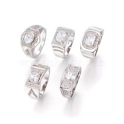 Bagues en 304 acier inoxydable, avec zircons, anneaux large bande, clair, couleur inoxydable, taille 8, 18mm(RJEW-O034-07P-18mm)