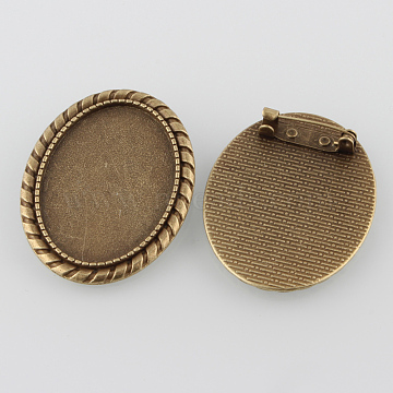 Vintage Alloy Brooch Cabochon Bezel Settings, with Iron Pin Back Bar Findings, Cadmium Free & Nickel Free & Lead Free, Antique Bronze, Oval Tray: 35x25mm; 43x33x2mm; Pin: 0.8mm(X-PALLOY-O038-15AB-NF)