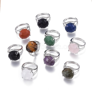 Adjustable Faceted Natural & Synthetic Mixed Gemstone Rings, with 304 Stainless Steel Findings, Flat Round, Size 8, Inner Diameter: 18mm(RJEW-I068-A)