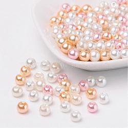 À peine mix rose perles perles de verre nacrées, couleur mixte, 6mm, trou: 1 mm; environ 200 PCs / sachet (HY-X006-6mm-01)