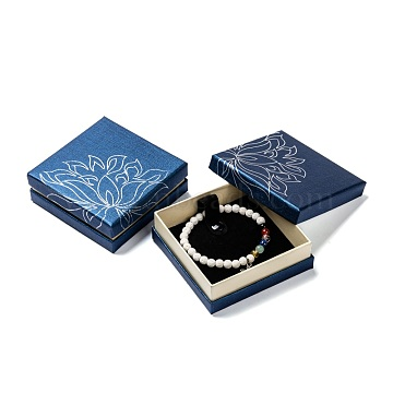 Cardboard Jewelry Bracelet Boxes, Velours inside, with Sponge, MediumBlue, 90x90x34mm(X-CBOX-E009-02)