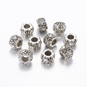 Alloy Rhinestone Beads, Large Hole Beads, Column with Flower, Antique Silver, 12x8.5mm, Hole: 5.5mm(ALRI-G058-01AS)